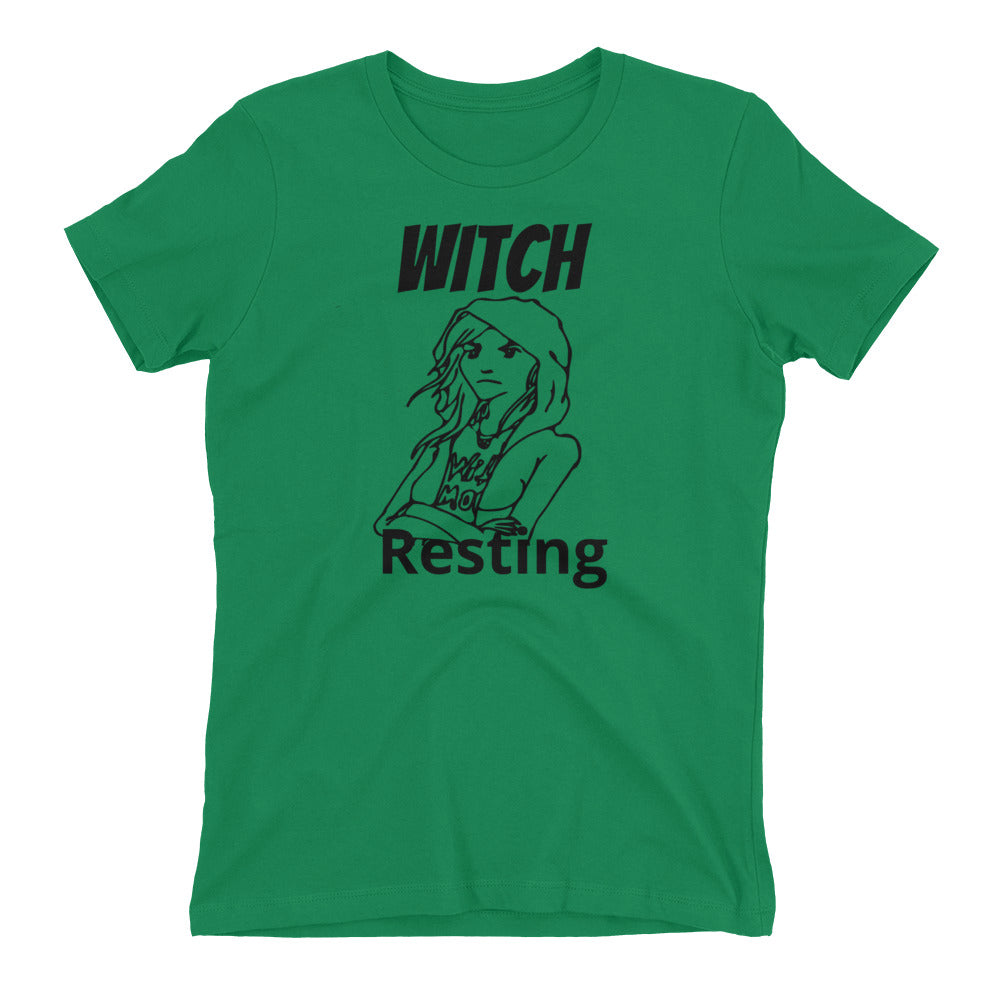 "Women's Tee Shirt ""Witch Resting"" Bitch Face - BlackTreeBlueRaven"