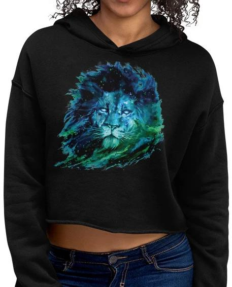 Crop Hoodie with Graphic Art Lion - BlackTreeBlueRaven