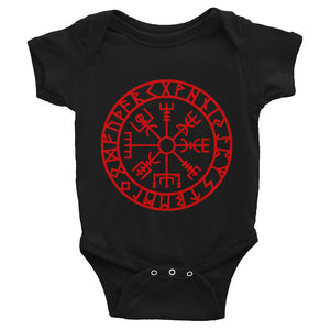 Infant Bodysuit Vegvisir Compass Symbol of Protection and Guidance for Baby - BlackTreeBlueRaven