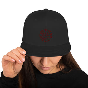Snapback Hat Runic Vegvisir Viking Compass Sigil For Protection and Guidance - BlackTreeBlueRaven