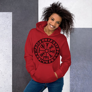 Hooded Sweatshirt Runic Vegvisir Viking Compass Sigil For Protection and Guidance - BlackTreeBlueRaven