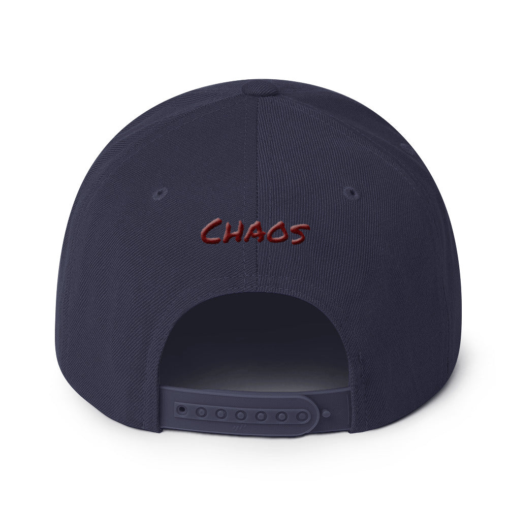 "Snapback Hat Chaos Symbol and ""Chaos"" on back - BlackTreeBlueRaven"