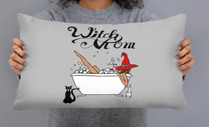 "Pillows for Your ""Witch Mom"" Relax, Tub, Cat, Bubbles, Wine and Hat Exclusive Custom Print - BlackTreeBlueRaven"