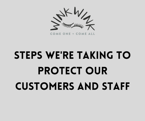 WinkWink logo and black text on grey background, text reads: Steps we're taking to protect our customers and staff