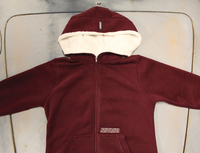 Deluxe Women's Burgundy Zip Up with Sherpa Hood
