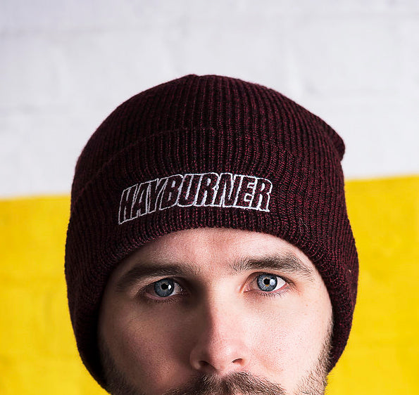 Burgundy Folded Wooly Hat with white Logo