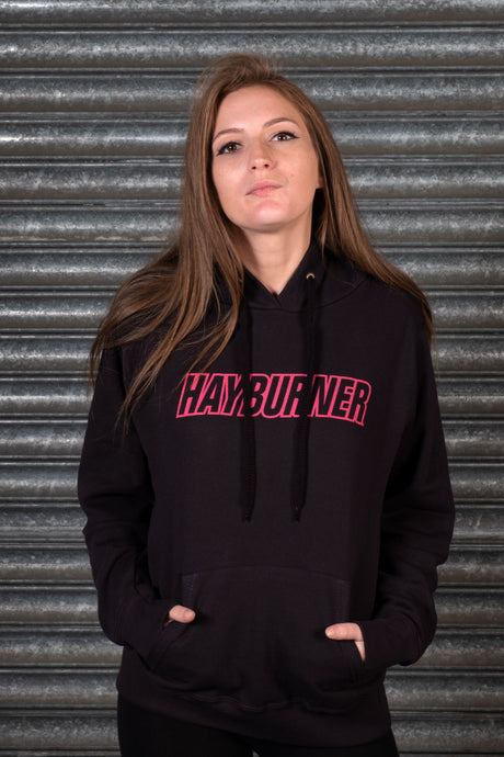 Lady Fit Black Hoodie with Pink Logo