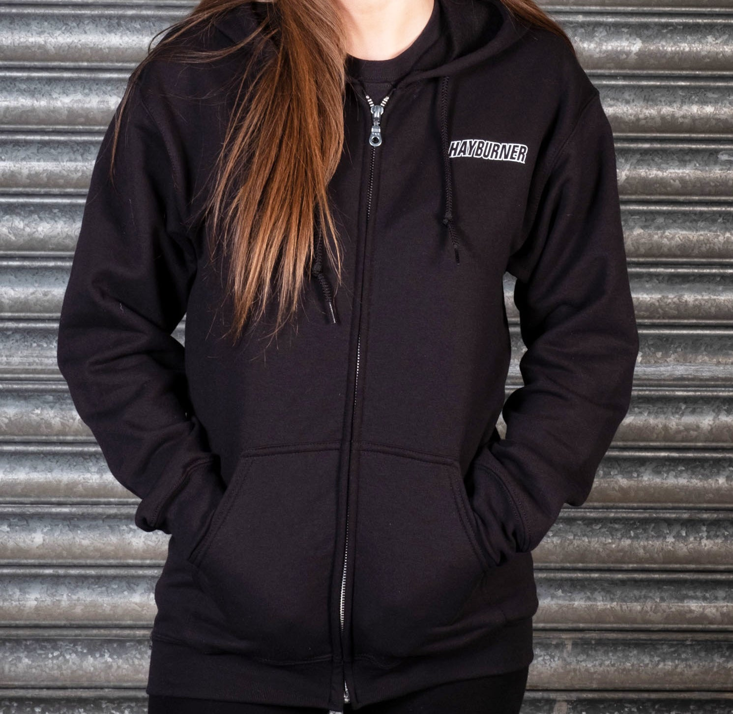 5269e03be Zip up Black Hoodie with White Chest Logo – Hayburner