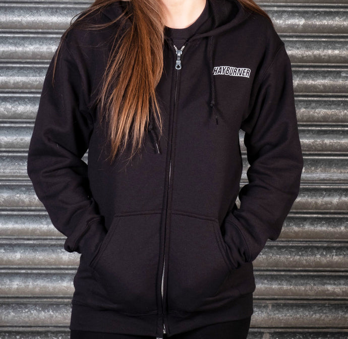 Zip up Black Hoodie with White Chest Logo