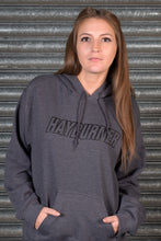 Load image into Gallery viewer, Dark Heather Grey with black Logo Hoodie