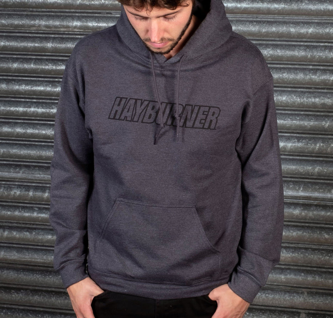Dark Heather Grey with black Logo Hoodie