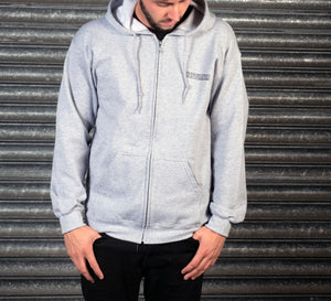 Zip up Grey Hoodie with Black Chest Logo