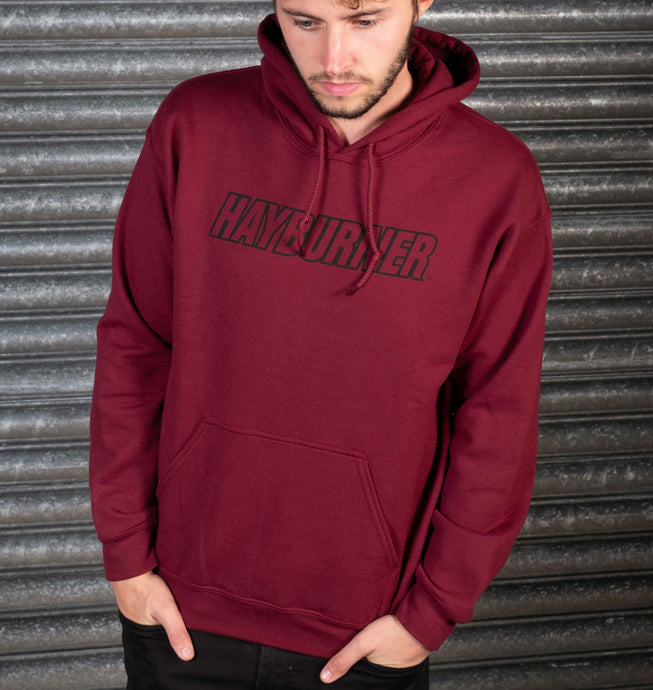 Burgundy with Black Logo Hoodie