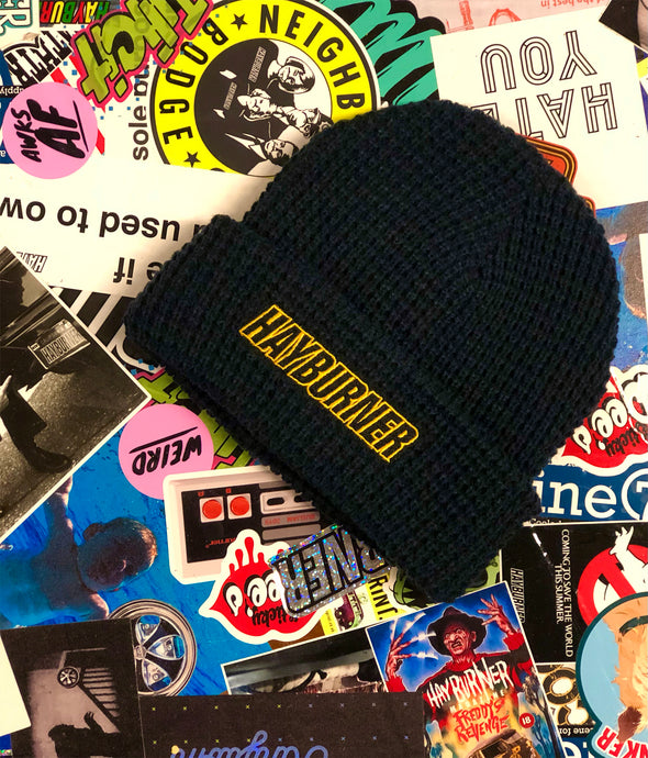 *NEW* Navy Waffle Beanie with yellow logo