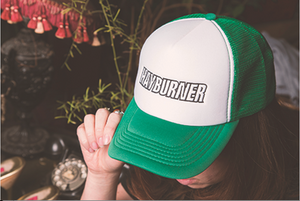 Green and White Trucker Cap with Black Logo