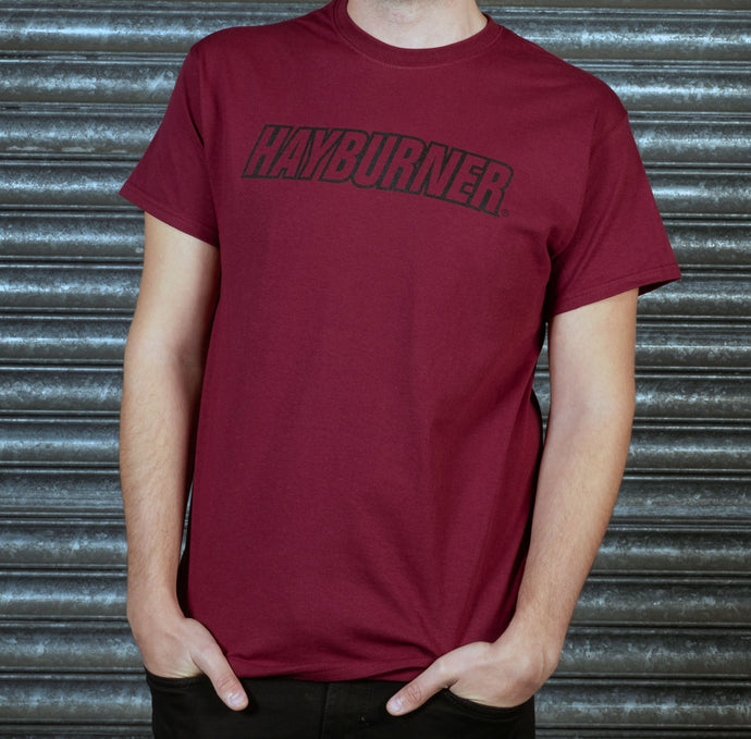 Burgundy With Black Logo 'Classic' T-Shirt