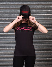 Load image into Gallery viewer, Lady's Black With Bright Pink Logo T-Shirt