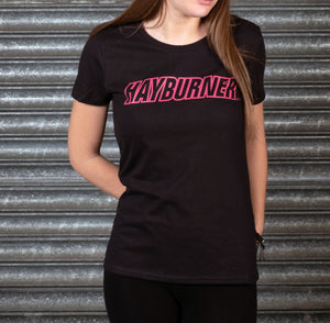 Lady's Black With Bright Pink Logo T-Shirt