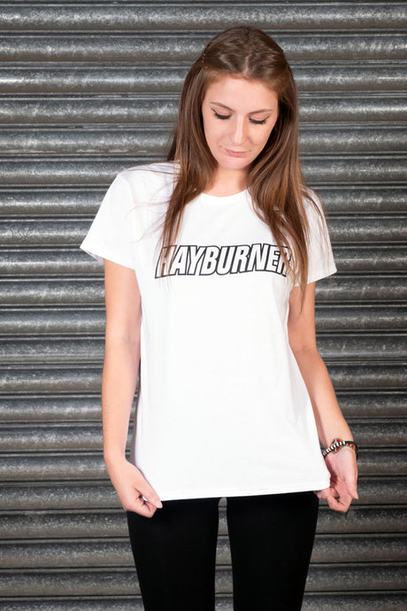 Lady's White With Black Logo T-Shirt