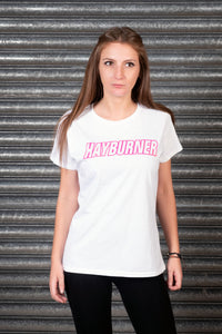 Lady's White With Bright Pink Logo T-Shirt