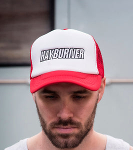 Red and White Trucker Cap with Black Logo
