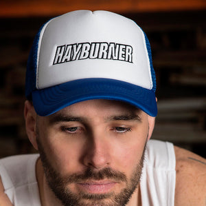 Royal Blue and White Trucker Cap with Black Logo
