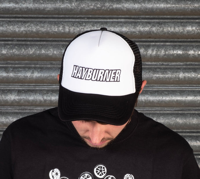 Black and White Trucker Cap with Black Logo