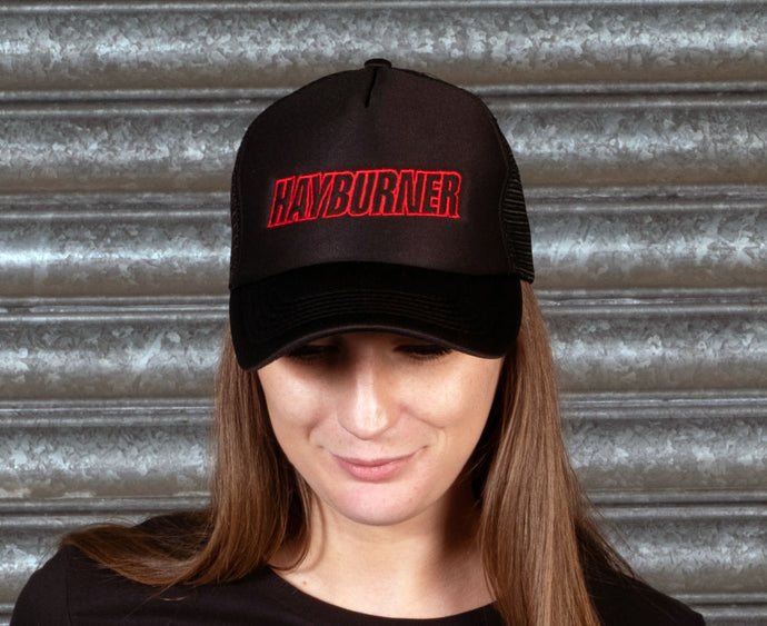 All black Trucker Cap with Red Logo