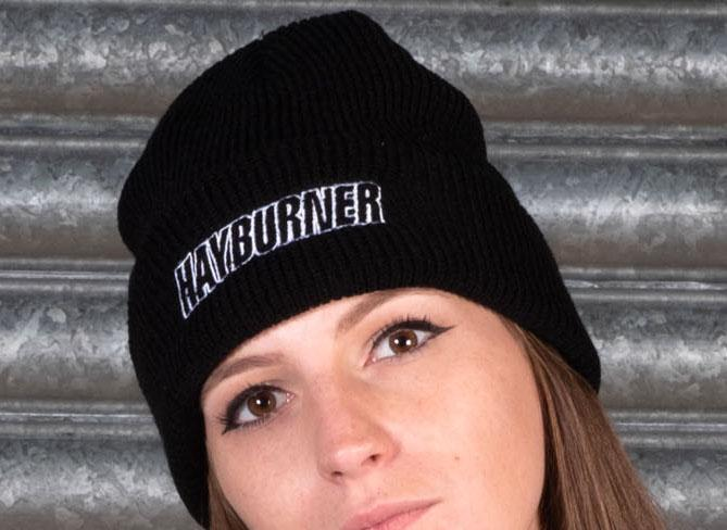 Black Folded Wooly Hat with white Logo