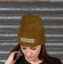 Load image into Gallery viewer, Mustard Folded Wooly Hat with white Logo