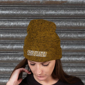Mustard Folded Wooly Hat with white Logo
