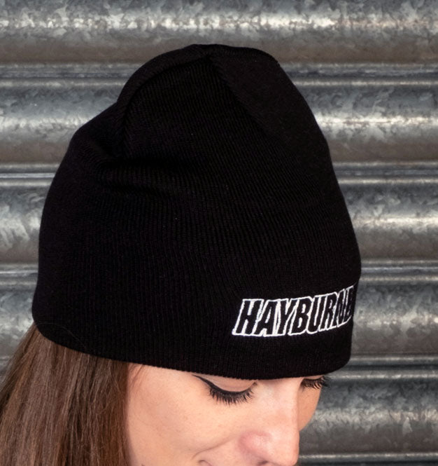 Black Plain Wooly Hat with White logo