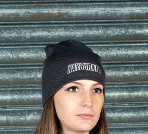 Dark grey Plain Wooly Hat with White logo