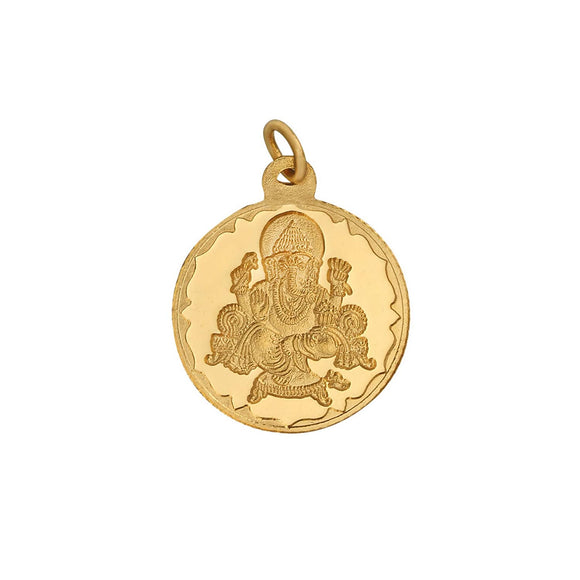 2.5 Gm Round Ganesh 24k (999) Yellow Gold Pendant