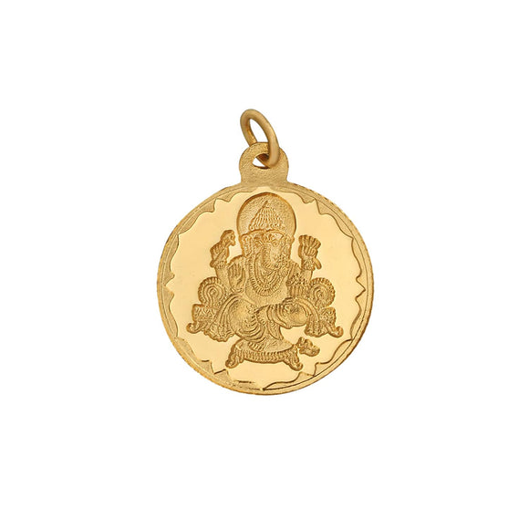 5.2 Gm Round Ganesh 24k (999) Yellow Gold Pendant