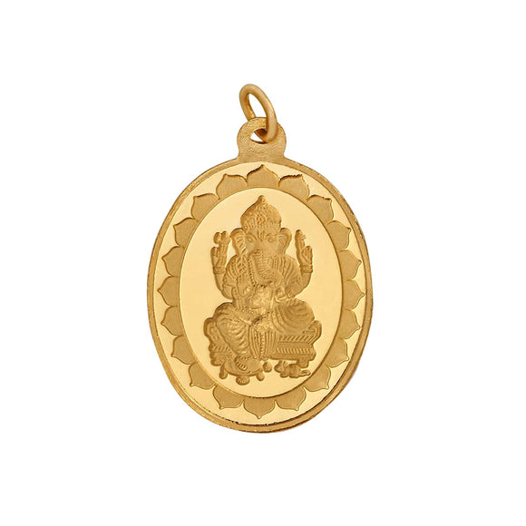 6.2 Gm Oval Ganesh 24k (999) Yellow Gold Pendant