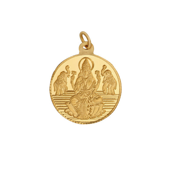 2 Gm Round Lakshmi 24k (999) Yellow Gold Pendant