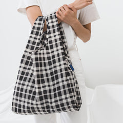 Baggu Black and White Plaid Shopping Bag
