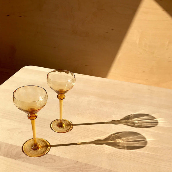 Pair of Vintage Long Stem Crystal Wine Glasses - White Space Home