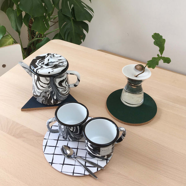 Bornn - Black and White Enamel Teapot - White Space Home