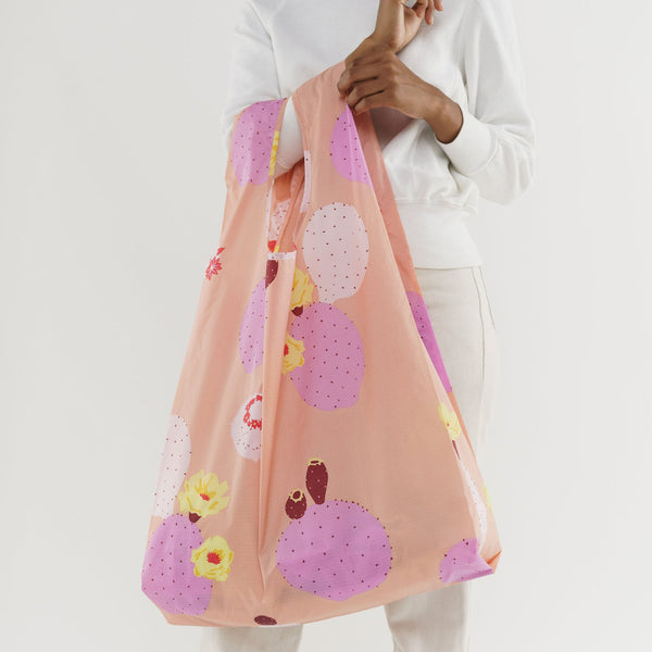 Large Reusable Shopping Bag - Big Baggu - Pink Cactus Flower - White Space Home