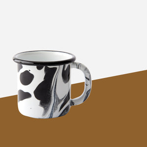 Bornn - Black and White Marble Enamel Mug - White Space Home