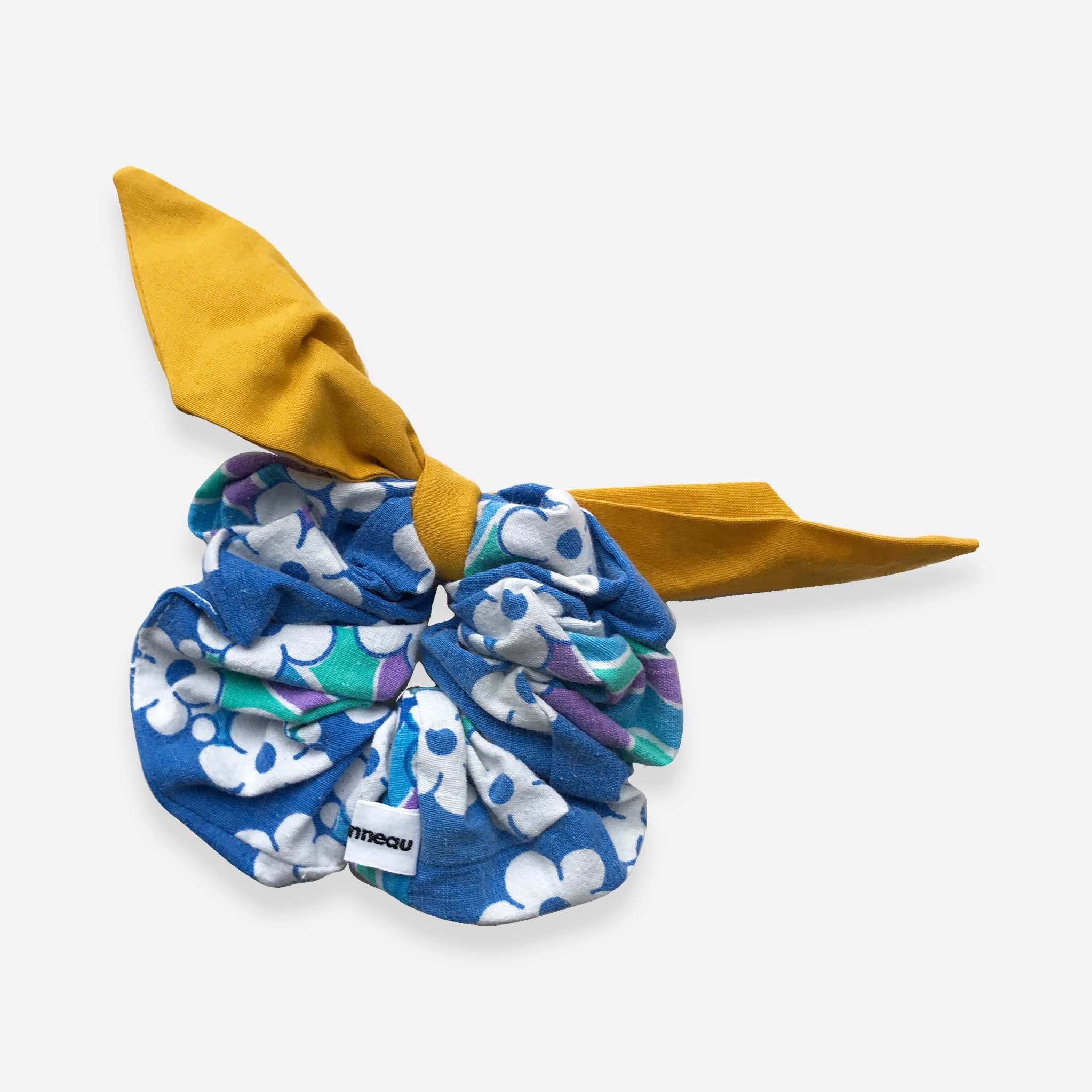 Retro Blue Hair Scrunchie - Lea Sionneau - White Space Home