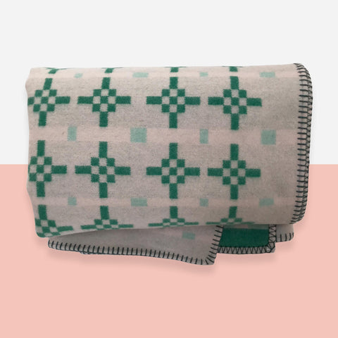 Hygge Wool Blanket - Emerald and Blush - White Space Home