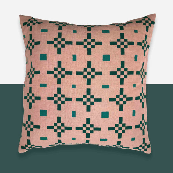 Hygge Heart Cushion Cover - Blush and Emerald - White Space Home