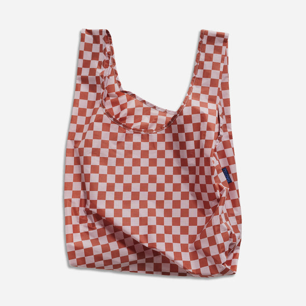 Fold Up Bag - Standard Baggu - Rose Checkerboard - White Space Home
