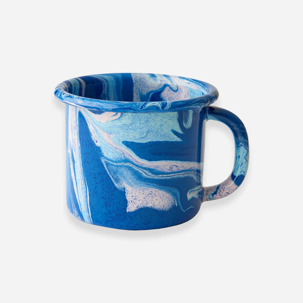 Bornn - Cobalt Blue Marble Enamel Mug - White Space Home