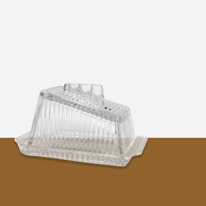 Vintage Glass Butter Dish - White Space Home