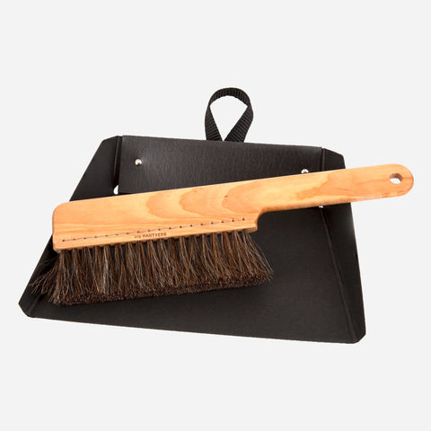Minimal Black and Maple Dustpan and Brush - White Space Home