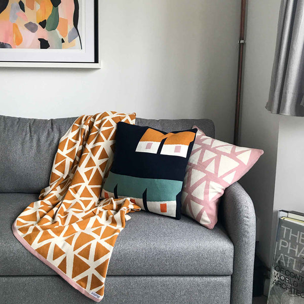 Navy Geometric Cushion Cover - Sophie Home - White Space Home